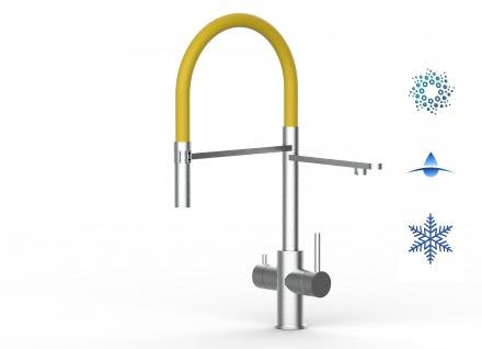 gelb 5 wege Edelstahl gebürstet Küchenmischer Wasserhahn Armatur - abnehmbarer 2strahl Brause