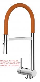 Unterfenster Armatur Wasserhahn abschwenbar auf nur 58mm 2strahl Handbrause - Griff auf linker Seite - orange