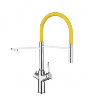 3 wege Küchenmischer fuer alle gaengigen filtersysteme geeignet mit gelb abnehmbarer 2 strahliger Handbrause