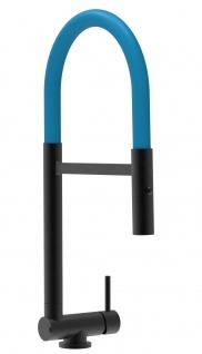 Chrom schwarz matt Küchenmischer mit blau schwenkbarem Auslauf und abnehmbarer 2 strahl Handbrause - Gesamthoehe nur 4, 5 cm