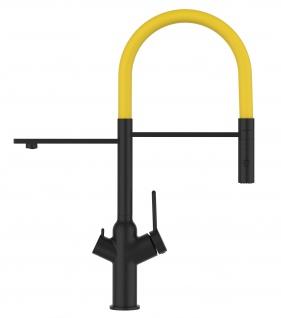Matt-Schwarz 3 Wege Küchenmischer für Filtersysteme mit gelb schwenkbarem Auslauf und abnehmbarer 2strahliger Handbrause