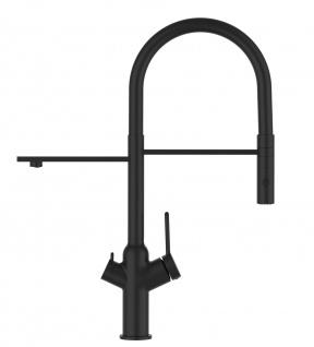 Matt-Schwarz 3 Wege Küchenmischer für Filtersysteme mit schwarz schwenkbarem Auslauf und abnehmbarer 2strahliger Handbrause