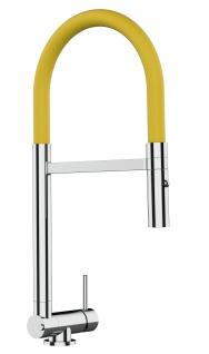 Chrom Küchenmischer mit gelb schwenkbarem Auslauf und abnehmbarer 2 strahl Handbrause - Gesamthoehe nur 4, 5 cm