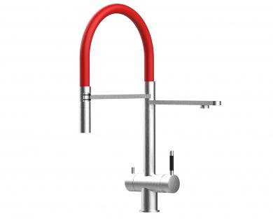 rot 3 wege Edelstahl gebürstet Küchenmischer Wasserhahn für Filtersysteme m. 2strahl Handbrause