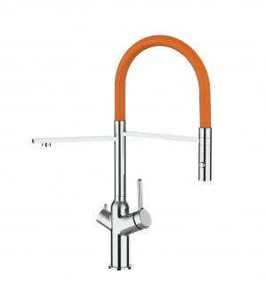 3 wege Küchenmischer fuer alle gaengigen filtersysteme geeignet mit orange abnehmbarer 2 strahliger Handbrause
