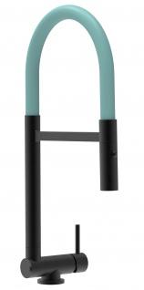 Chrom schwarz matt Küchenmischer mit türkis schwenkbarem Auslauf und abnehmbarer 2 strahl Handbrause - Gesamthoehe nur 4, 5 cm