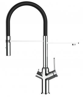 3 wege Küchenmischer fuer alle gaengigen filtersysteme geeignet mit schwarz abnehmbarer 2 strahliger Handbrause