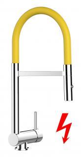 gelb NIEDERDRUCK Küchenarmatur Edelstahl-Stahlfeder Chrom - 2 strahl Handbrause, Küchenmischer Unterfenster, Abklappbare, Absenkbare, Vorfenster, Spültischarmatur, Spülenmischer, Wasserhahn Küche, Vorfenstermontage, nur 6cm hoch, direkt vom Hersteller