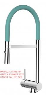 Unterfenster Armatur Wasserhahn abschwenbar auf nur 58mm 2strahl Handbrause - Griff auf linker Seite - türkis