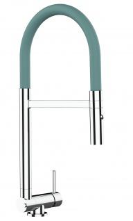Chrom Küchenmischer mit türkis schwenkbarem Auslauf und abnehmbarer 2 strahl Handbrause - Gesamthoehe nur 4, 5 cm