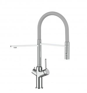 3 wege Küchenmischer fuer alle gaengigen filtersysteme geeignet mit grau abnehmbarer 2 strahliger Handbrause
