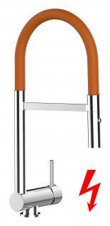 orange NIEDERDRUCK Küchenarmatur Edelstahl-Stahlfeder Chrom - 2 strahl Handbrause, Küchenmischer Unterfenster, Abklappbare, Absenkbare, Vorfenster, Spültischarmatur, Spülenmischer, Wasserhahn Küche, Vorfenstermontage, nur 6cm hoch, direkt vom Hersteller
