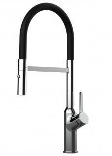 Design Küchenarmatur chrom Wasserhahn mit 360° schwenkbarem Auslauf und 2 strahl Handbrause - Brauseschlauch in Schwarz