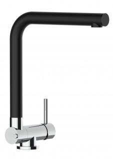 Unterfenster Vorfenster Armatur Wasserhahn Küche abschwenbar auf nur 45mm - Granit Schwarz