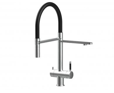 schwarz 3 wege Edelstahl gebürstet Küchenmischer Wasserhahn für Filtersysteme m. 2strahl Handbrause