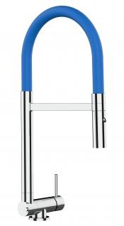 Chrom Küchenmischer mit blau schwenkbarem Auslauf und abnehmbarer 2 strahl Handbrause - Gesamthoehe nur 4, 5 cm
