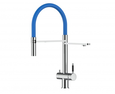 blau 3 wege Edelstahl Hochglanz Küchenmischer Wasserhahn für Filtersysteme m. 2strahl Handbrause
