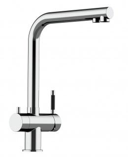 3 wege Edelstahl Küchenmischer Wasserhahn Armatur für Filtersysteme - Edelstahl Hochglanz