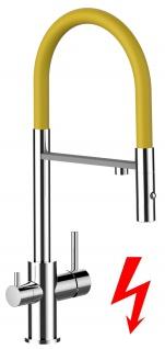 gelb NIEDERDRUCK 3 wege Küchenmischer Wasserhahn Armatur für Filtersysteme - 2 strahl Handbrause
