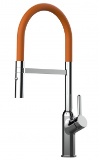 Design Küchenarmatur chrom Wasserhahn mit 360° schwenkbarem Auslauf und 2 strahl Handbrause - Brauseschlauch in Orange