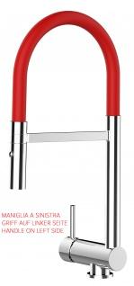 Unterfenster Armatur Wasserhahn abschwenbar auf nur 58mm 2strahl Handbrause - Griff auf linker Seite - rot