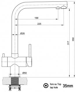 3 wege Edelstahl Küchenmischer Wasserhahn Armatur für Filtersysteme - Edelstahl Hochglanz - Vorschau 2