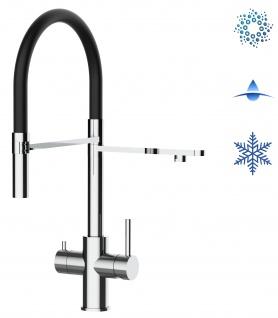 schwarz 5 wege Edelstahl Küchenmischer Wasserhahn Armatur Hochglanz-Finish - abnehmbarer 2strahl Brause