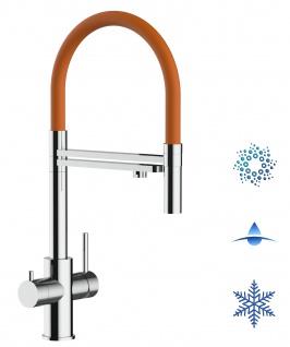 orange 5 wege Edelstahl Küchenmischer Wasserhahn Armatur Hochglanz-Finish - abnehmbarer 2strahl Brause