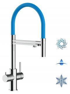 hellblau 5 wege Edelstahl Küchenmischer Wasserhahn Armatur Hochglanz-Finish - abnehmbarer 2strahl Brause