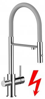grau NIEDERDRUCK 3 wege Küchenmischer Wasserhahn Armatur für Filtersysteme - 2 strahl Handbrause