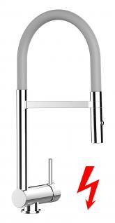 grau NIEDERDRUCK Küchenarmatur Edelstahl-Stahlfeder Chrom - 2 strahl Handbrause, Küchenmischer Unterfenster, Abklappbare, Absenkbare, Vorfenster, Spültischarmatur, Spülenmischer, Wasserhahn Küche, Vorfenstermontage, nur 6cm hoch, direkt vom Hersteller