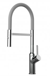 Design Küchenarmatur chrom Wasserhahn mit 360° schwenkbarem Auslauf und 2 strahl Handbrause - Brauseschlauch in Grau
