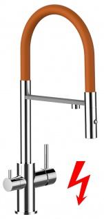 orange NIEDERDRUCK 3 wege Küchenmischer Wasserhahn Armatur für Filtersysteme - 2 strahl Handbrause