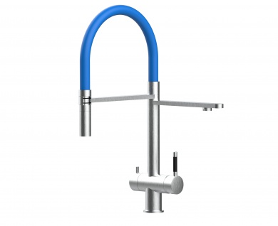 blau 3 wege Edelstahl gebürstet Küchenmischer Wasserhahn für Filtersysteme m. 2strahl Handbrause