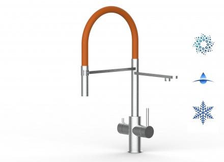 orange 5 wege Edelstahl gebürstet Küchenmischer Wasserhahn Armatur - abnehmbarer 2strahl Brause