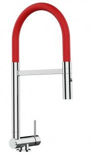 Chrom Küchenmischer mit rot schwenkbarem Auslauf und abnehmbarer 2 strahl Handbrause - Gesamthoehe nur 4, 5 cm
