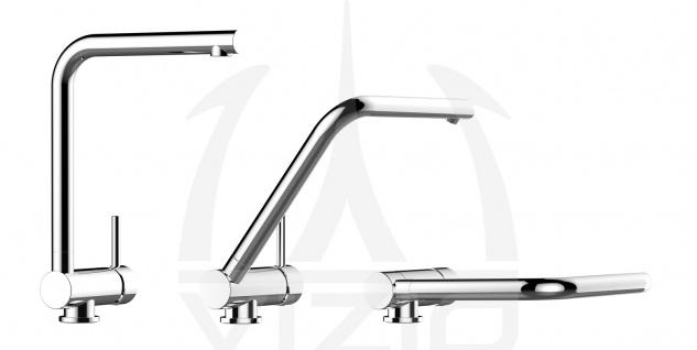 NIEDERDRUCK Unterfenster Vorfenster Armatur Wasserhahn Küche abschwenbar auf nur 58mm - Granit Weiß - Vorschau 3