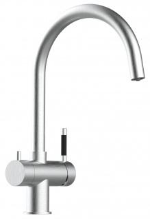3 wege Edelstahl Küchenmischer Wasserhahn Armatur für Filtersysteme - gebürstetes Stahl-Finish