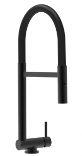 Chrom schwarz matt Küchenmischer mit schwarz schwenkbarem Auslauf und abnehmbarer 2 strahl Handbrause - Gesamthoehe nur 4, 5 cm