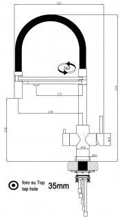 blau 5 wege Edelstahl gebürstet Küchenmischer Wasserhahn Armatur - abnehmbarer 2strahl Brause - Vorschau 2