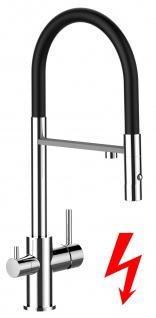 schwarz NIEDERDRUCK 3 wege Küchenmischer Wasserhahn Armatur für Filtersysteme - 2 strahl Handbrause