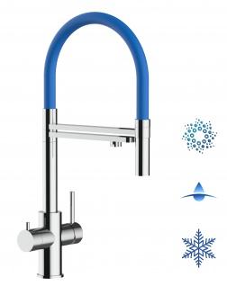 blau 5 wege Edelstahl Küchenmischer Wasserhahn Armatur Hochglanz-Finish - abnehmbarer 2strahl Brause
