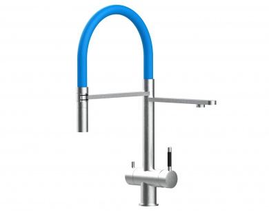 hellblau 3 wege Edelstahl gebürstet Küchenmischer Wasserhahn für Filtersysteme m. 2strahl Handbrause