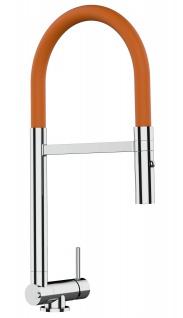 Chrom Küchenmischer mit orange schwenkbarem Auslauf und abnehmbarer 2 strahl Handbrause - Gesamthoehe nur 4, 5 cm