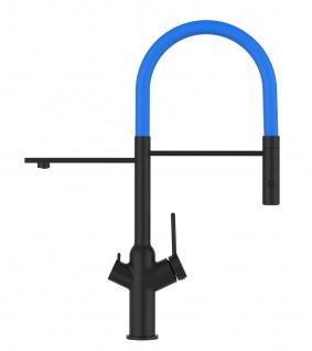Matt-Schwarz 3 Wege Küchenmischer für Filtersysteme mit blau schwenkbarem Auslauf und abnehmbarer 2strahliger Handbrause