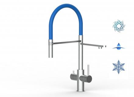 blau 5 wege Edelstahl gebürstet Küchenmischer Wasserhahn Armatur - abnehmbarer 2strahl Brause