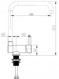 Küchenarmatur, Küchenmischer, Unterfenster, Abklappbare, Absenkbare, Vorfenster, Spültischarmatur, Spülenmischer, Wasserhahn Küche, Vorfenstermontage, nur 6cm hoch, direkt vom Hersteller, - Vorschau 5