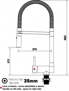 Unterfenster Armatur Wasserhahn abschwenbar auf nur 58mm 2strahl Handbrause - Griff auf linker Seite - blau - Vorschau 2