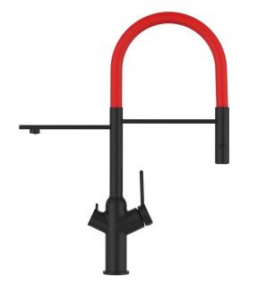Matt-Schwarz 3 Wege Küchenmischer für Filtersysteme mit rot schwenkbarem Auslauf und abnehmbarer 2strahliger Handbrause