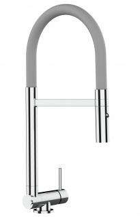 Chrom Küchenmischer mit grau schwenkbarem Auslauf und abnehmbarer 2 strahl Handbrause - Gesamthoehe nur 4, 5 cm